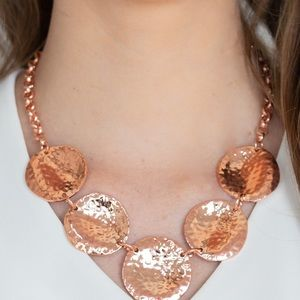 Copper textured circle necklace and earrings